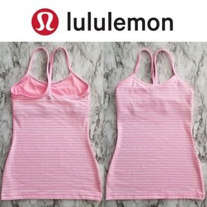 Lululemon Power Y Tank, Pink White Stripe, Size 2